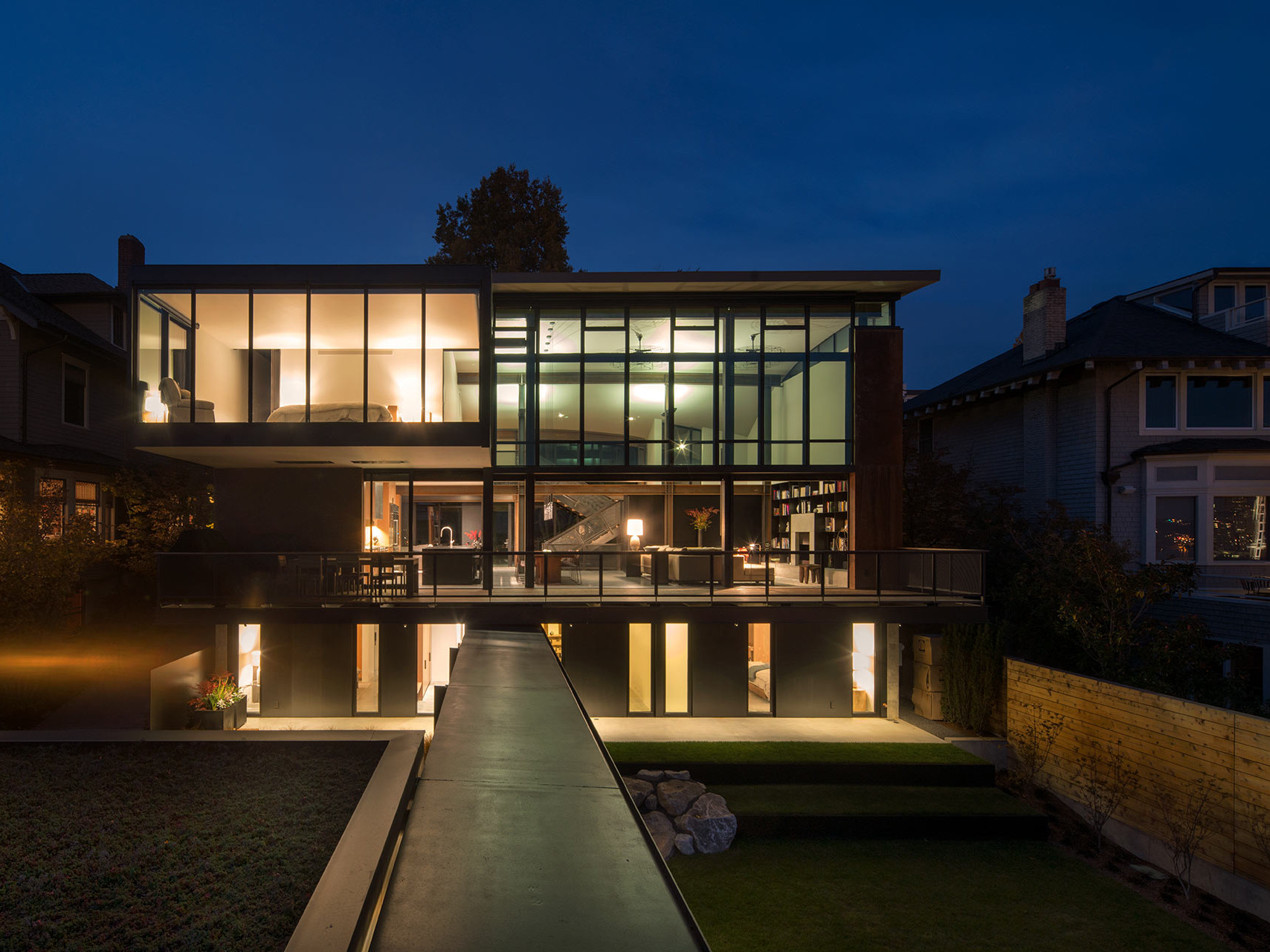 Meg home's front view by night