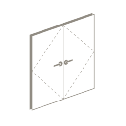 3 D drawing of double swing door or French door