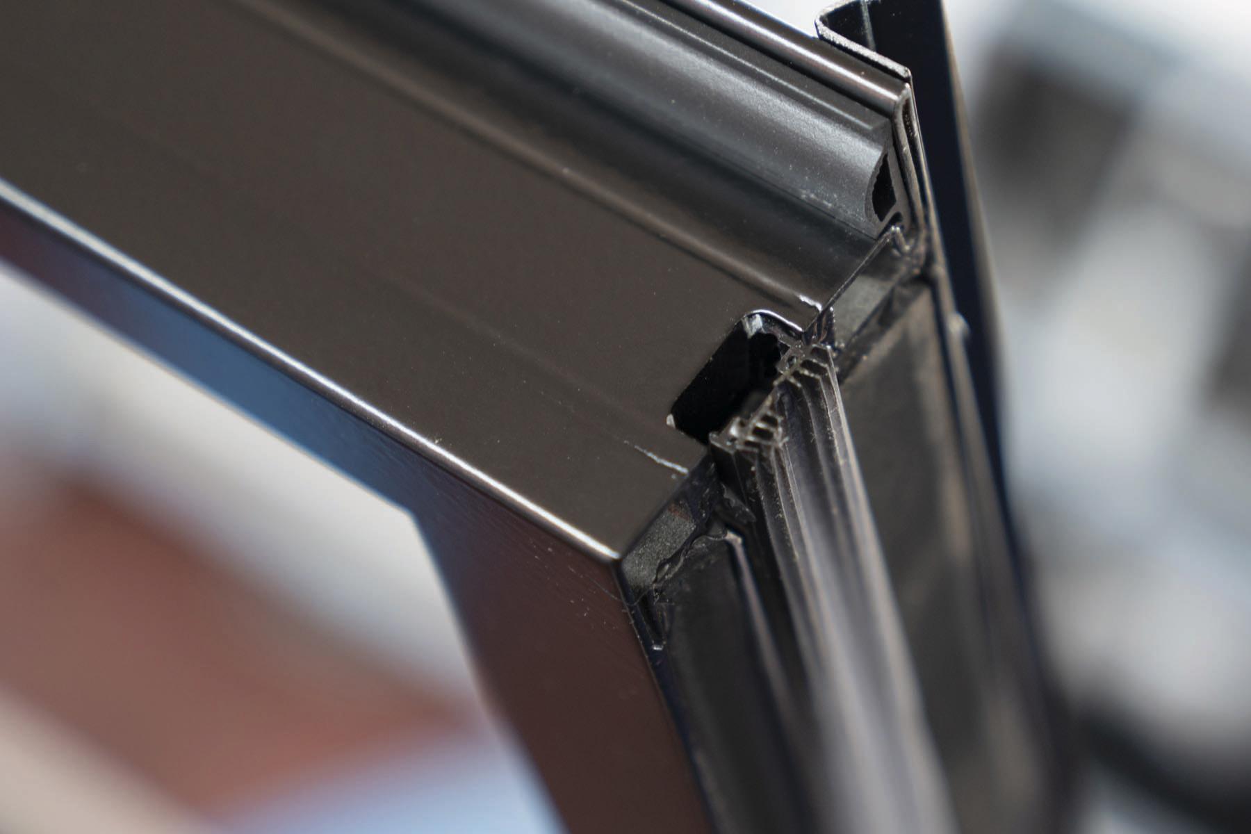 detail of a metal window corner