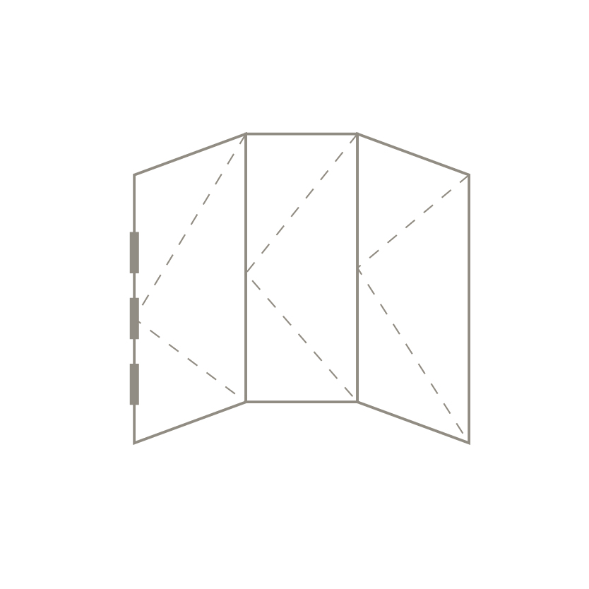 Curved Bifold Door 3+0 Sash Configuration