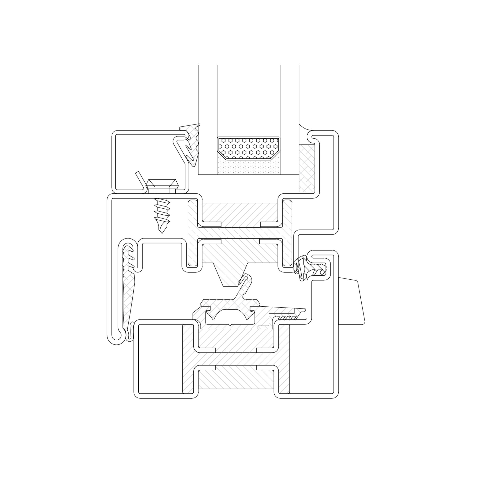 Drawing of the section of the system EBE 65