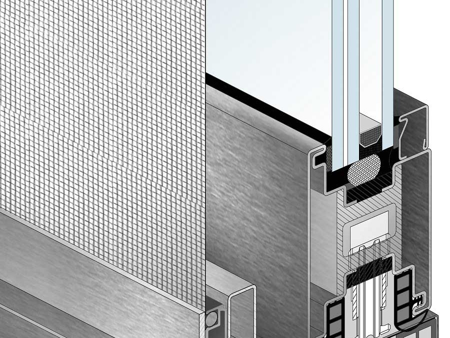 Windows and doors screens: 3D slide screen drawing