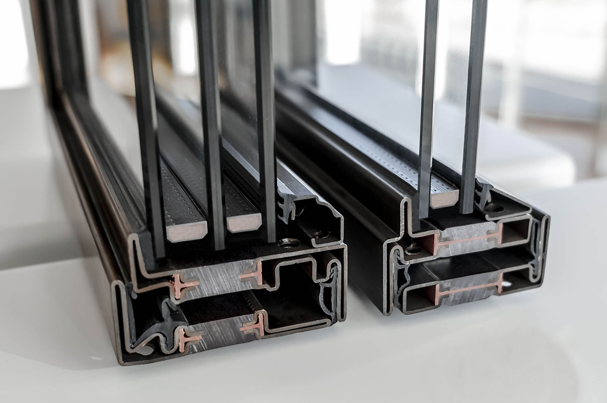 Brombal's corner samples with triple and double glazing
