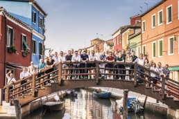 Brombal Experience in Venice, All the Brombal team on bridge in Burano during the Brombal experience in Venice